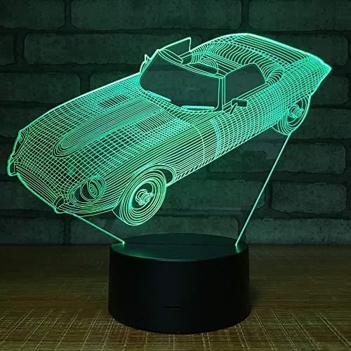 Cool Sports Racing Car 3D LED Night Light 7 colores Lámpara de ilusión Touch Usb Lámpara de mesa Decoración para el hogar Niño Niños Regalo de Navidad Drop Ship