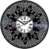 Reloj de Pared de Vinilo con símbolo Celta, Reloj con Registro de Vinilo, Arte de Pared, Arte Negro Hecho a Mano, Idea hogar, 12 Pulgadas