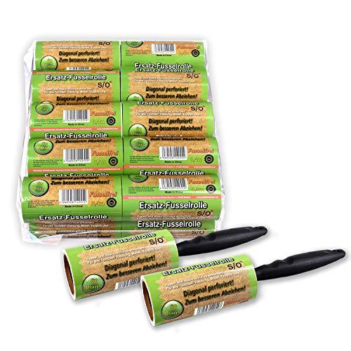 Schramm® 20 pièces de Rouleaux de Peluches 20 Rouleaux de 60 Feuilles chacun, avec 2 distributeurs en Plastique Saleté de Peluches Pinceau de poussière