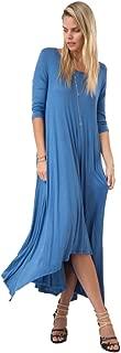 Tabeez Women's Long Loose Casual Asymmetrical Oversize Handkerchief Hem Jersey Maxi Dress (Made in The USA)