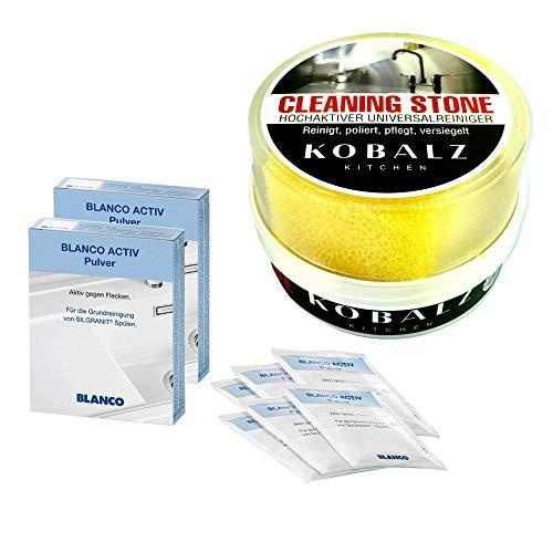 Set Blanco Spülenpflege Activ Pulver & Universal Putzstein gegen Ablagerungen, Verschmutzungen, Verkrustungen. Haushaltsreiniger, Entkalker mit Abperleffekt.