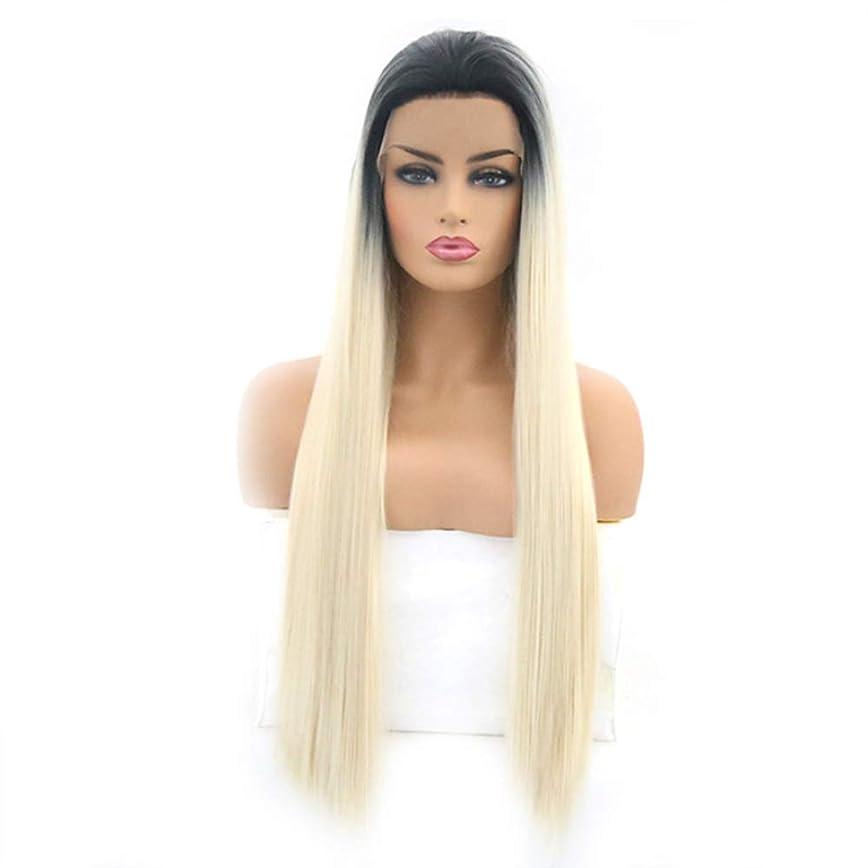 求人量で聞きますファッショナブルな女性のかつら、長いストレートの髪のかつら、調整可能なかつら16から26インチの自然なフロントレースグラデーション