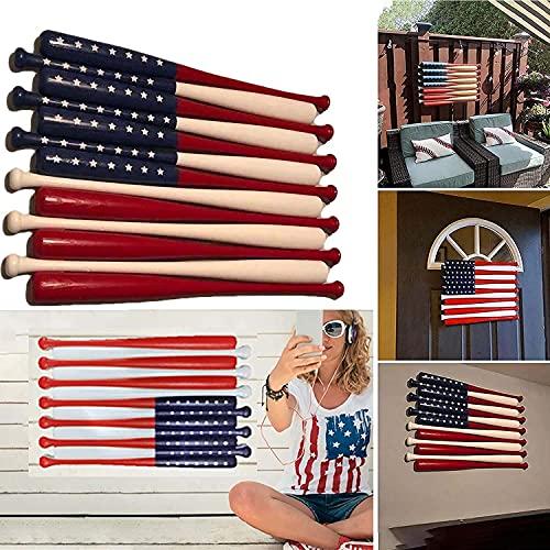 Yikeyuan New Hot Wood Baseball Bat American Flag - 3D Baseball Flag Wood Wall Art, Wooden Baseball Bat Flag Wall Hanging for Declares Your Patriotism