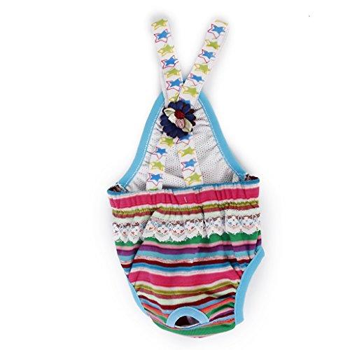 Culotte Sanitaire à Bretelles à Rayures Colorées pour Chienne Animal Femelle 3-4Kg M