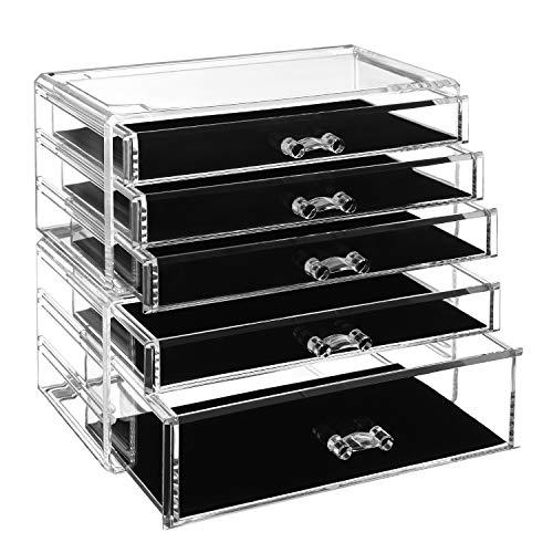 SONGMICS Make-up Organizer, 2 stapelbare Aufbewahrungsboxen für Schmuck und Kosmetik, mit 5 Schubladen, aus Kunststoff, Transparent JMU32TP