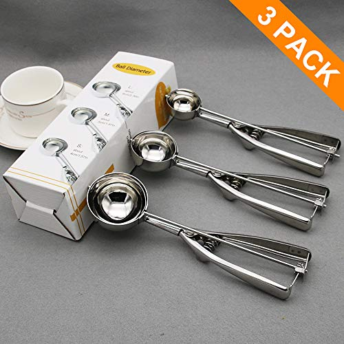 AriTan Cookie Scoop Set of 3 Stainless Steel Ice Cream Scoop Include LargeMediumSmall Size Good Grips Squeeze Melon Disher