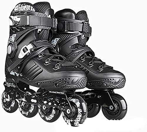 Patines de rodillos Patines de rodillos al aire libre - Zapatos de patinaje de velocidad Patines en línea para adultos Cuchillas de rodillos de una sola fila profesional Profesional en línea fibra de