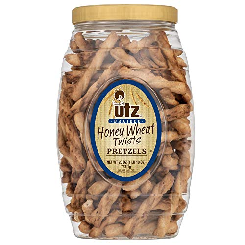 Utz Honey Wheat Braided Pretzel Twists – 26 oz Barrel – Sweet Honey Taste, Thick, Crunchy Pretzel Twists, Perfect for Dipping and Snacks, Zero Cholesterol Snack Food Package May Vary