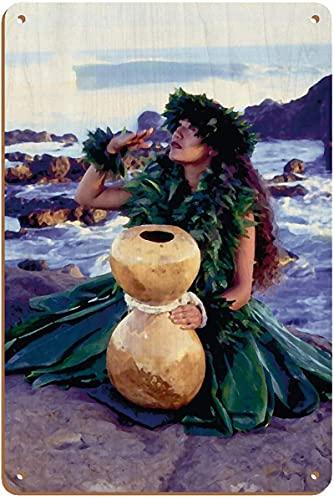 Tomlinsony Grateful - Hula Dancer with IPU Hula Gourd Drum - from an Original Color Fotografía por Ron Laes - 20,32 x 30,48 cm Vintage Wood Art Sign