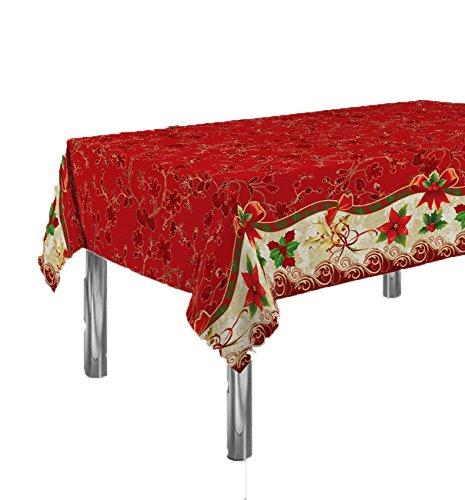 ExclusivoCIR Manteles Red Flower Navidad Pascua Estampados Antimanchas Colores Primaverales Decoracion Hogar (240 x 150 cm)
