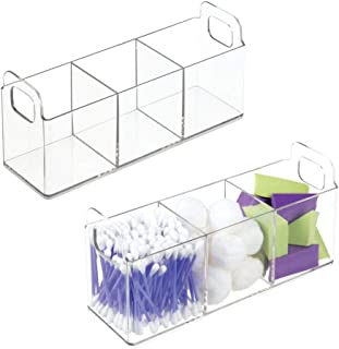 mDesign Cosmetic Vanity Catch-All Organizer to Hold Makeup Products - Pack of 2 Clear