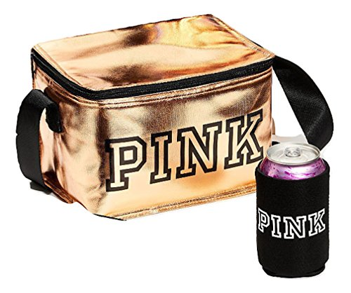 Victoria's Secret Pink New Cooler + COOZIE Color Gold NWT, 5 7/8 ' H x 8 5/8 ' W x 6 ' D