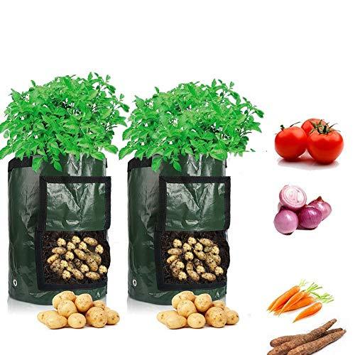 Cefrank Potato Grow Bags,2-Pack 10 Gallon Garden Vegetable Growing Bag with...