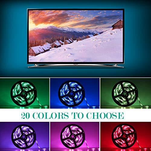 SUNNEST Ruban LED RGB 2M 5050 SMD 60 LEDs Light Strip Flexible Multicolore Décoration Chambre TV Tableau Miroir avec Télécommande de 17 Touches+5 piles bouton