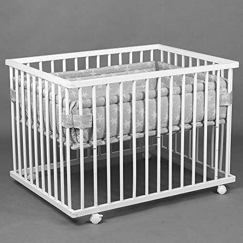 Parc bébé de luxe parc enfant 100x75cm parc de bebe HONEY BEE blanc - gris 46500-D02
