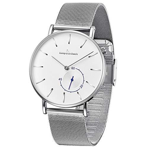 Infinito U-Reloj de Cuarzo Blanco Ultra Fino para Hombre Minimalista Moda Relojes de Pulsera para Hombres Vestir Casual Impermeable con Banda Blanco de Acero Inoxidable