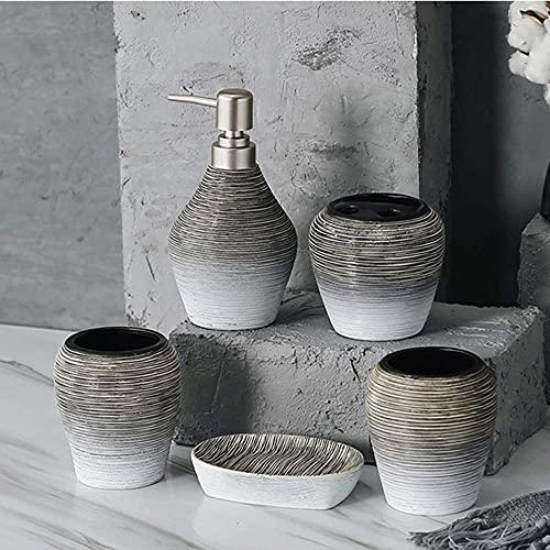 ZYQHJKLHK Juego de Accesorios de baño, 5 Piezas, jabonera de cerámica Texturizada, dispensador de jabón, Soporte para Cepillo de Dientes y Vaso, Juego de baño