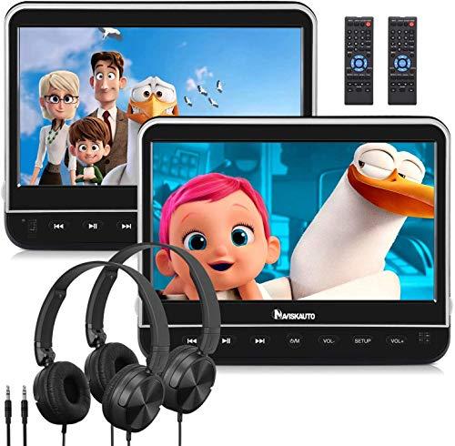 "NAVISKAUTO 2 10,1\"" DVD Player Auto HDMI Eingang HD 1080P DVD Player Tragbar Kopfstütz Monitor mit Kopfhörer 1024*600 Memory SD USB bis 128GB AV In/Out 12V"