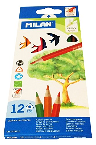 Milan 0728312 - Pack de 12 lápices de colores, triangulares