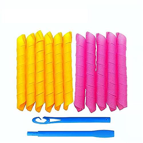 10 PC Rodillos de pelo en espiral, rulos de pelo sin calor, rodillos de pelo mágicos para peluqueros de pelo largo rodillos de bricolaje con 2 piezas de ganchos de peinado,Multi colored