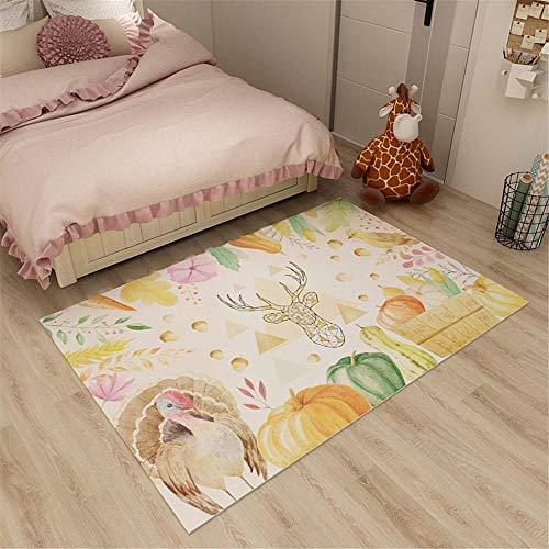 RUGMYW Antideslizante Alfombra Infantil Patrón de Flor Beige Amarillo Verde Rosa Naranja pájaro Cervatillo alfombras Salon Grandes 180X250cm