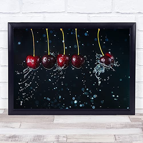 Newton's Cradle Cherry Water Splash Wall Art Print