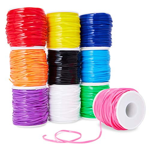 Plastic Lacing Cord, Jewelry Making Supplies, 10 Rainbow Colors (2.5 x 1mm, 50 Yards, 10-Pack)