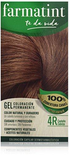 Farmatint Gel 4R Castaño Cobrizo | Color natural y duradero | Componentes vegetales y aceites naturales | Sin amoníaco | Sin Parabenos | Dermatológicamente testado