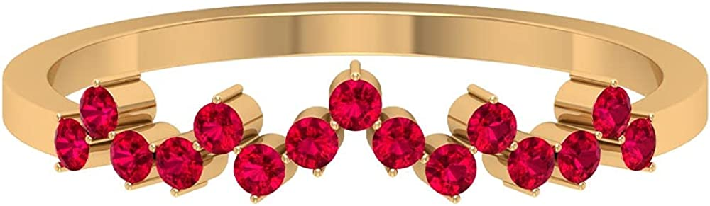 July Birthstone - 1/4 CT Ruby Uneven Stackable Ring (AAA Quality), 14K Solid Gold