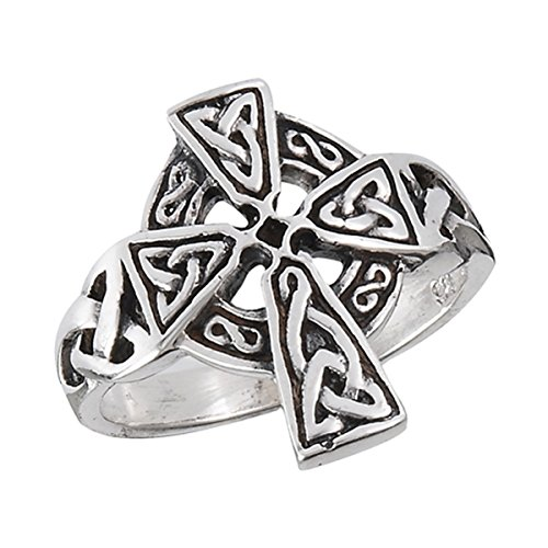 Prime Jewelry Collection Sterling Silver Women's Oxidized Irish Christian Celtic Trinity Knot Cross Ring (Sizes 6-10) (Ring Size 8)