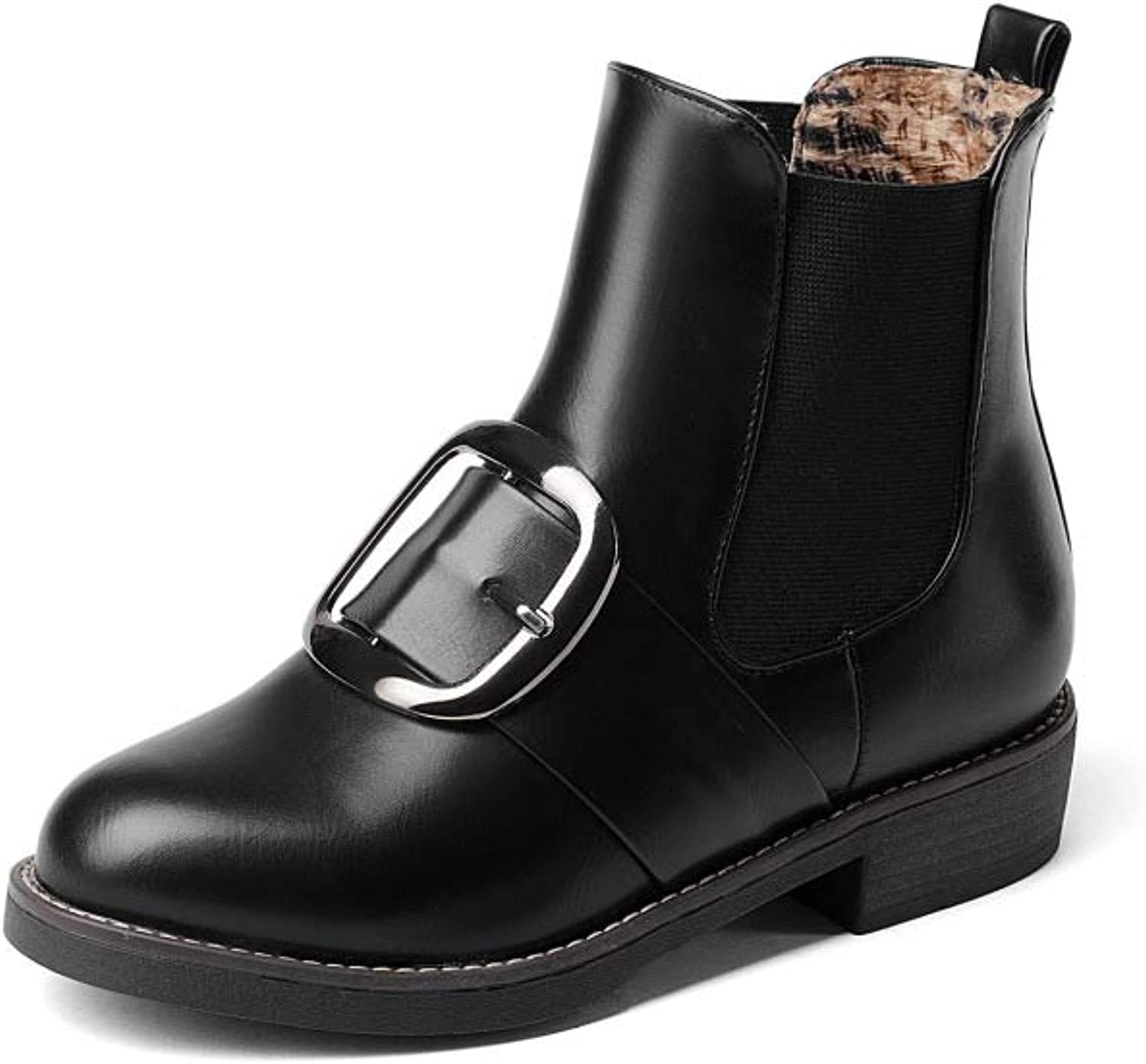 Winter Women Boots Wide Calf, Metallic Buckle Comfort Flat Ankle Snow Boots, Best Choice for Daily Wear EU35.5-41,Black-CN42