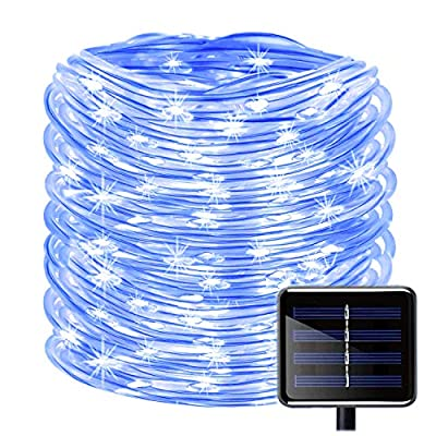 KINGCOO 100 LEDs Solar Rope String Lights, Waterproof 39ft/12M Copper Wire Outdoor Tube Fairy String Lights for Christmas Garden Yard Path Fence Tree Backyard (Blue)