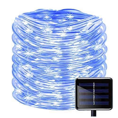 KINGCOO 100LEDs Schlauch Lichterkette, IP55 Wasserdicht 39ft/12m Solarlichterkette Röhrenlicht Seil Kupferdraht Weihnachtsbeleuchtung Lichter für Hochzeit Garden Party Außenlichterkette (Blau)