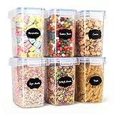 Aitsite 1.6L Contenitori per Cereali Contenitori Alimentari Plastica con Coperchio Barattoli Ermetici per Alimenti di BPA Set di Contenitori Plastica 6Pcs+12 Etichette + Penna per Acquerello