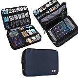 Universal Double Layer Travel Gear Organiser/Custodia da viaggio universale per dispositivi elettronici e accessori (M, Dark Blue)
