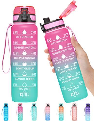 Elvira Sport-Trinkflasche mit Zeitmarkierung und herausnehmbarem Sieb, schneller Durchfluss, auslaufsicher, langlebig, BPA-frei, ungiftig, hellrosa / grün Farbverlauf