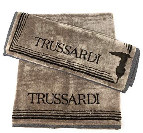 Trussardi Home Linen Coppia di Asciugamani Art Frame in Velour e Spugna idrofila all'Interno (1+1 Viso + ospite) (Sand 003)