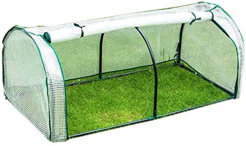 HAO KEAI Serre de Jardin PE Plastique Tente abri Jardin d' extérieur Mini Serre avec Couverture Blanche et Porte - Couvre- Pot de Fleur Cour arrière