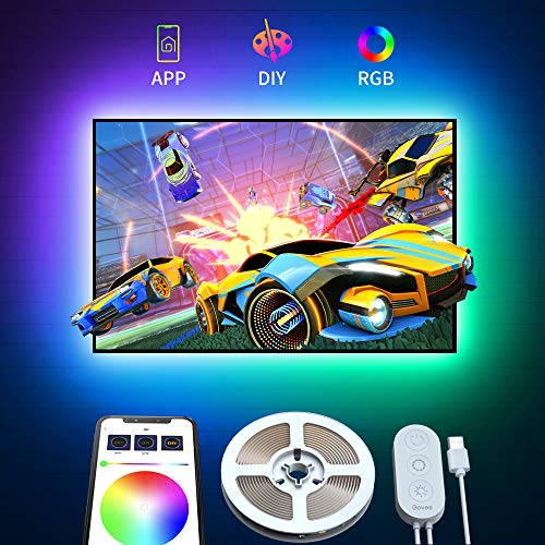 Govee Tira LED TV 2M RGB USB con APP, 5050 Tira de luz LED Luz Trasera Multicolor de TV con APP, Tira de Luz LED Multicolor Para 40-55in HDTV PC Monitor 4pcs x 50cm 5V 2A