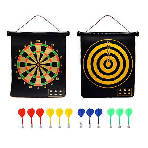 Zen Mesa Large Magnetic Dart Board for Kids - 22 Inches with 12 Strong Magnetic Darts - Double Sided - Safe for Kids 5 Years Old and Adults