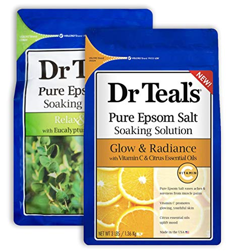 Dr Teal's Epsom Salt Bath Combo Pack (6 lbs Total), Relax & Relief with Eucalyptus & Spearmint, and Glow & Radiance with Vitamin C & Citrus