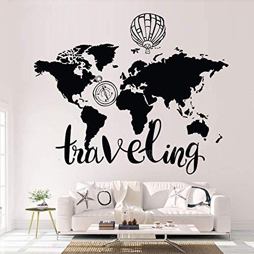 Mapa Del Mundo Pegatinas De Pared Decoración Para El Hogar Sala De Estar Pegatinas De Vinilo De Viaje Dormitorio Brújula Globo De Aire Caliente Arte Mural102X84Cm