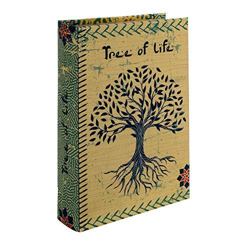 BY SIGRIS Signes Grimalt Libros Decorativos | Caja Libro de Madera - Diseño Arbol de la Vida - 26x5x17 cm