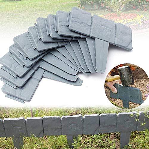 QIANGGAO Garteneinfassung Grenze - dekorative Blumenbeeteinfassung für Landschaftsgestaltung - Steinordnung, 10-teiliges Set von ineinander greifenden Rasenpfählen von Pure Garden