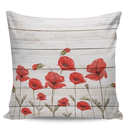 Scrummy, federa per cuscino da 61 x 61 cm, motivo papaveri rossi vintage in legno, per decorare la casa