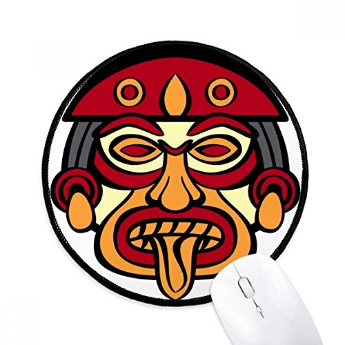 DIYthinker Indian Abstract Art Tekenen Totem Paal Gezicht Ronde Antislip Mousepads Zwart Titched Edges Game Office Gift