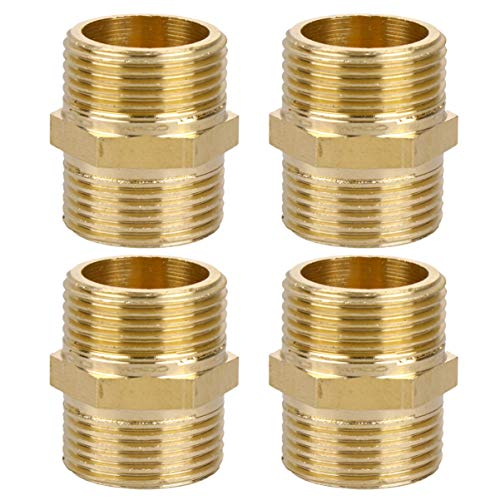 Yarnow 4 Stks Pijpfitting Connector Hex Nippel Gastoestel Connector Slangadapters Messing Tuinslang Pijp Connector