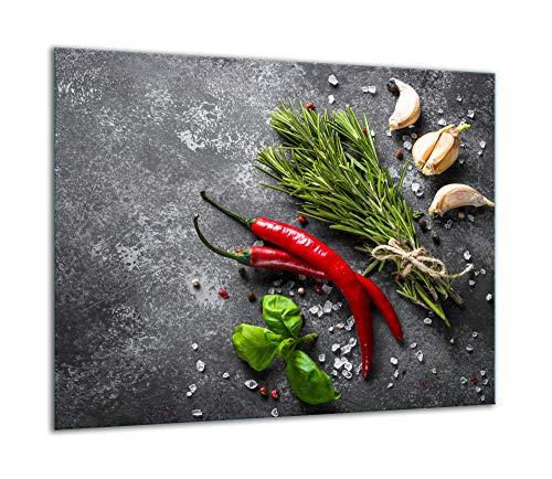 TMK - Placa protectora de vitrocerámica 60 x 52 cm 1 pieza cocina eléctrica universal para inducción protección contra salpicaduras tabla de cortar de vidrio templado como decoración Especias