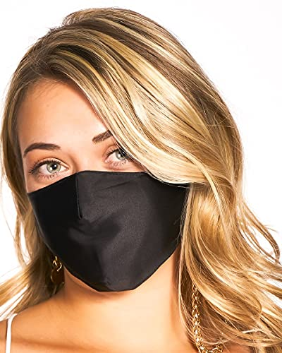 Markha Black Silk Mask Face for Women Men, Washable Silk Mask, Mulberry Silk Mask Reusable Adjustable with Filter Pocket