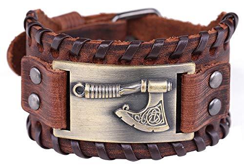 Pulsera de cuero marrón con diseño de nudo irlandés y amuleto clásico nórdico eslavo hacha de Perun con conector de metal para hombres y mujeres (pulsera marrón, bronce antiguo)